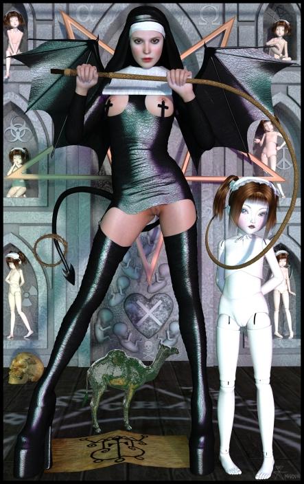 goetia_girls_nightgaunt_leather_nun_gremory_gamori_necronomicon_succubus_art_muse_of_faustus_crow