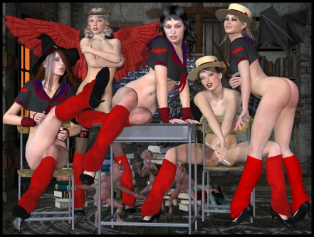 goetia_girls_lilith's_harem_hogwarts_st_trinian_detention_witchcraft_schoolgirl_succubus_art_muses_of_faustus_crow